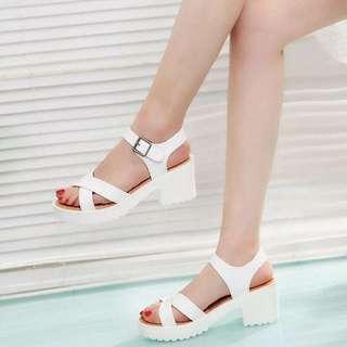 wedges silang docmart heels putih