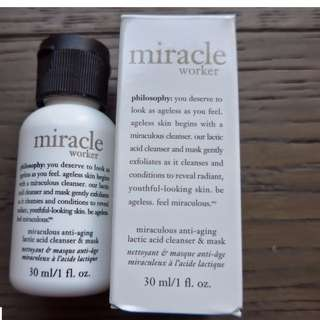 Philosophy Miracle Worker Miraculous Anti-Aging Lactic Acid Cleanser & Mask Travel Size 30ml New & Authentic (No Offers)