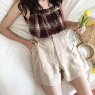 格紋背心&棉麻短褲