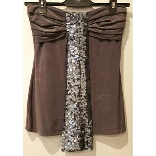 NEW Blessed Are The Meek purple grey strapless top sequin tie detail size S