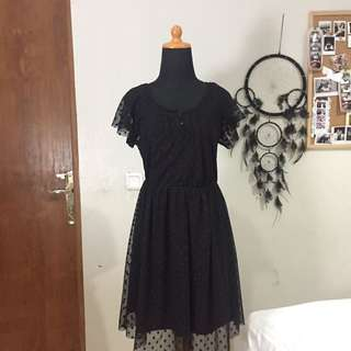 ZARA Chiffon Black Polkadot Dress