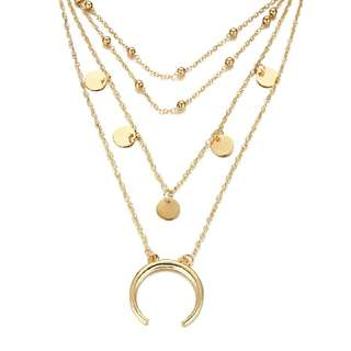 Coin and Moon Metal Plated Layered Necklace