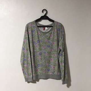 Divided Floral Pullover Sweater