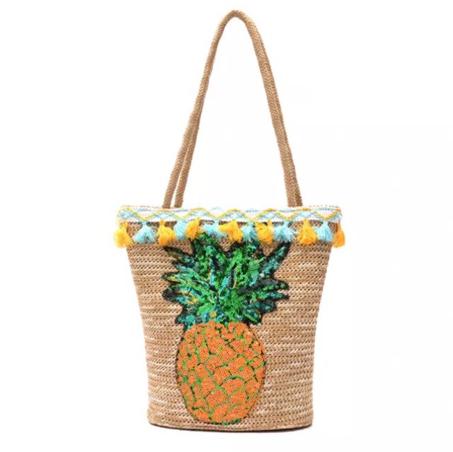 市面少見,菠蘿🍍亮片草編單肩斜背手提沙灘女草編渡假包