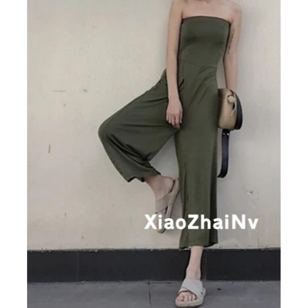 豆沙綠/軍綠色歐美修身連身褲/連體褲