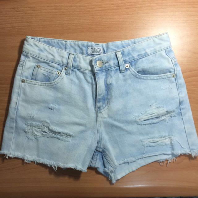 韓風淺藍牛仔短褲