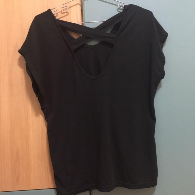 黑色舒服棉微低胸上衣