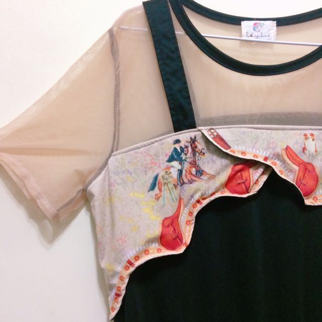 泰國設計師款假兩件洋裝