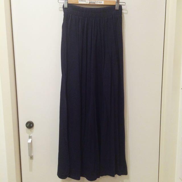 傘狀深藍長裙