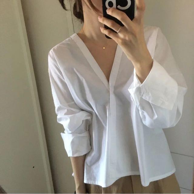 韓版大尺碼 秋冬日式和服領口白襯衫