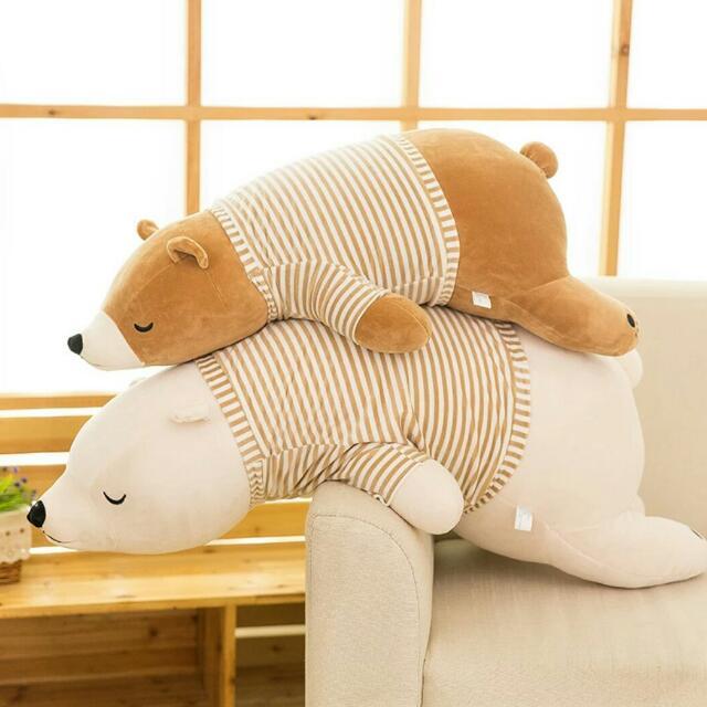 現貨!限時促銷買一送二~北極熊毛絨玩偶可愛睡覺抱枕娃娃柔軟玩偶禮物 北極熊玩偶娃娃