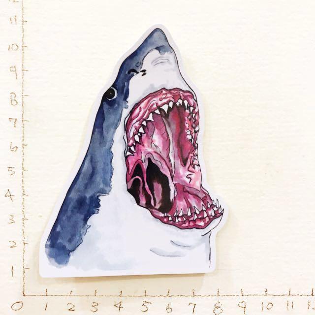 大鯊魚 浮世繪 防水貼紙 買五送一
