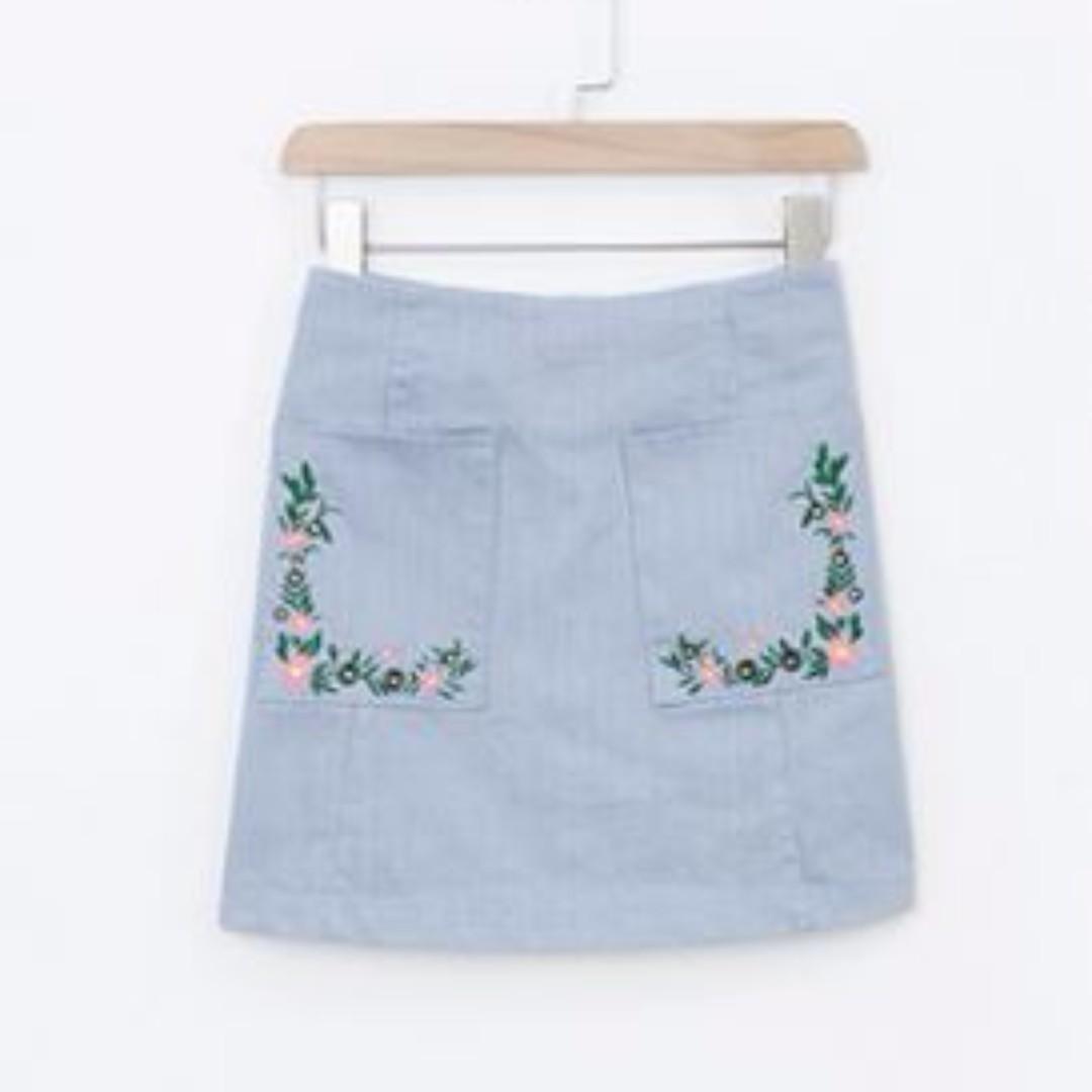 碎花 繡花 藍色 口袋 A字 修身 顯瘦 拉鍊短裙