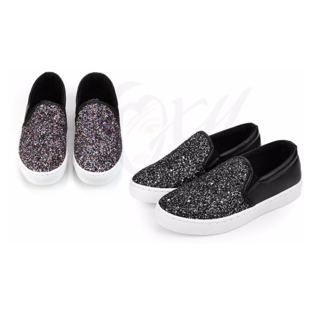fae4f66272 💯 Causal Ladies Oversize Bling Glitter Flats Lazy Shoes