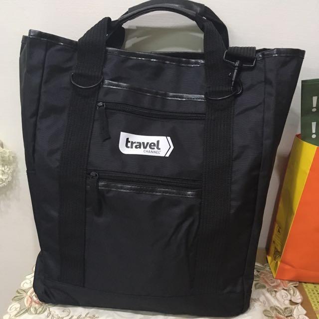 黑色機能A4大小手提斜背兩用袋