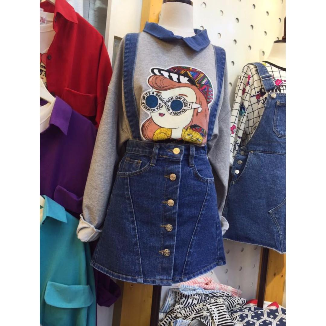 (全新)正韓韓國製前排扣子藍色A字牛仔裙/可拆卸可拆式吊帶牛仔裙/牛仔吊帶裙