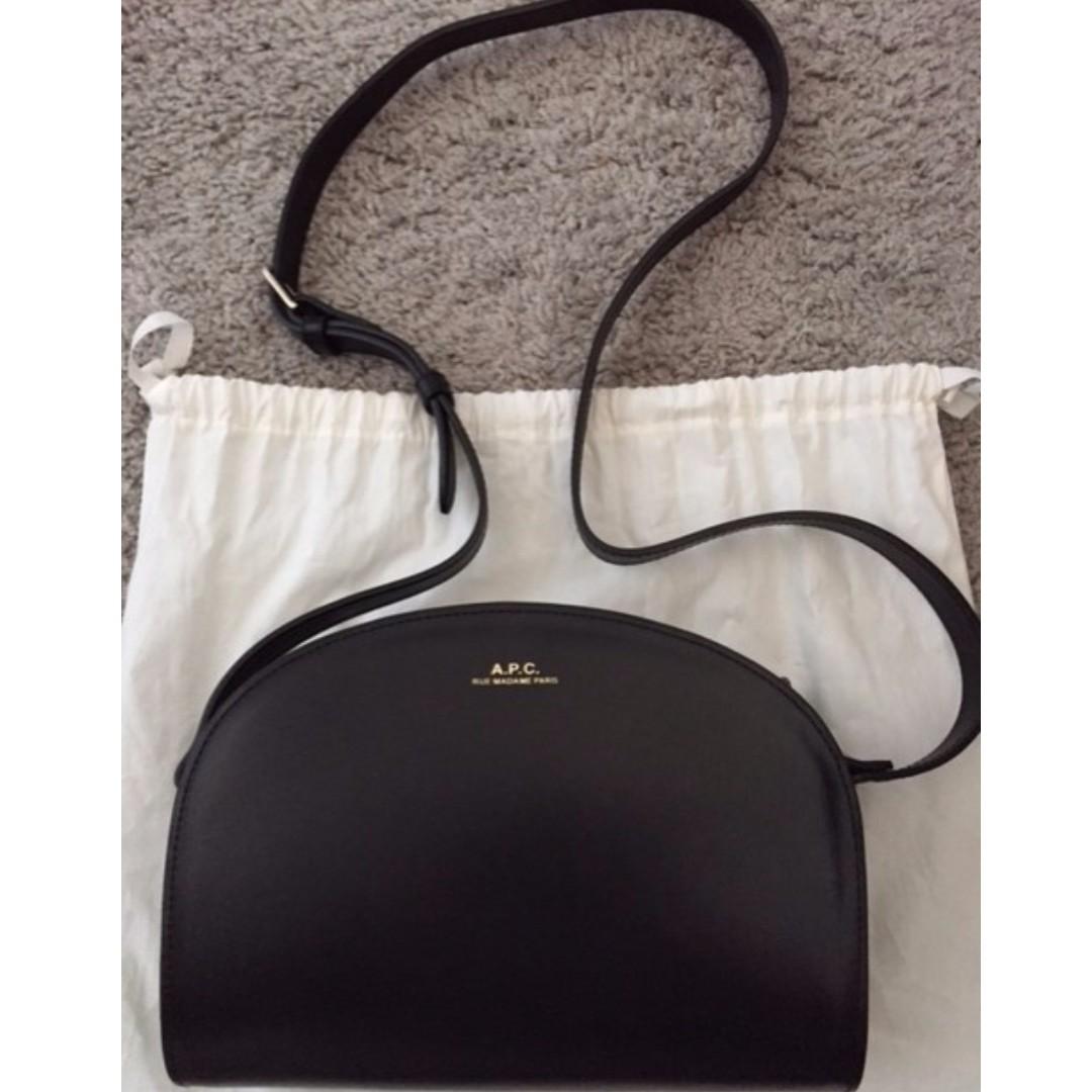 A.P.C Black Sac Demi-Lune leather shoulder bag