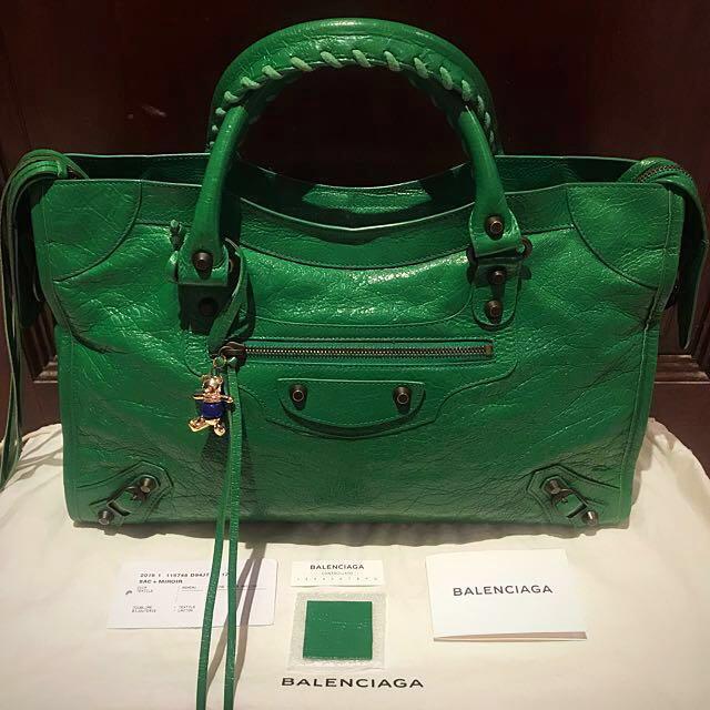 4c2983de490b ☑️Authentic Like New BALENCIAGA City Vert Trefle Green  2015 ...