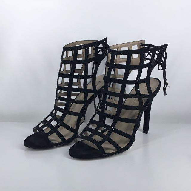 BCBGMAXAZRIA Black Studded Cage Heels (Lien)