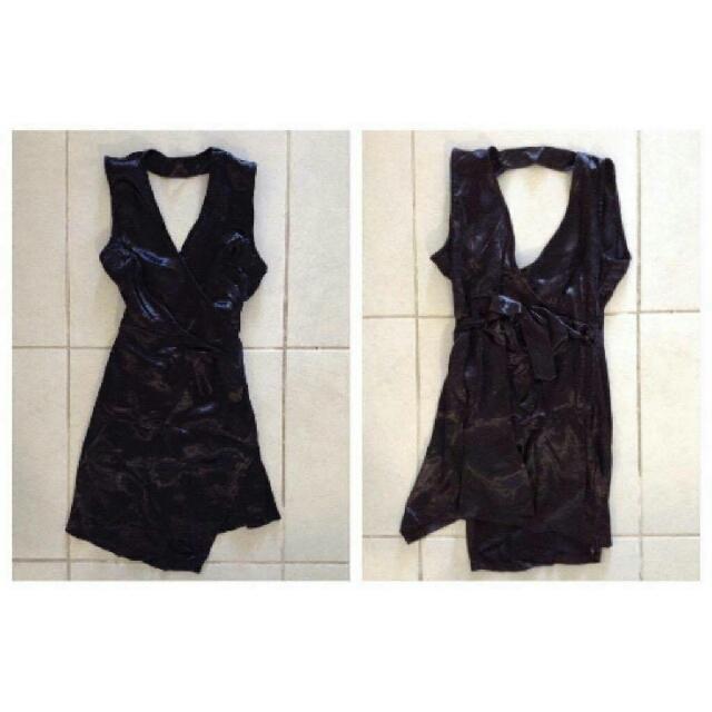 Black Satin Wraparound Dress - BNWT