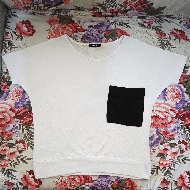 BLACK SHEEP | White Pocket Crop Top