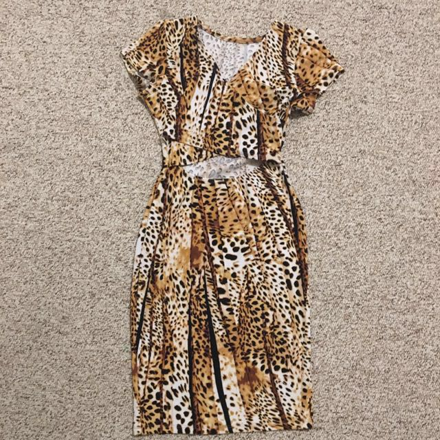 brown and black leopard dress