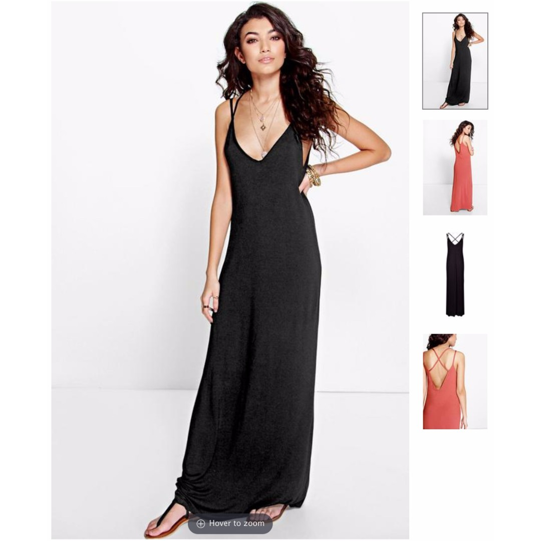 BOOHOO Cross Back Strappy Maxi Dress (Black)