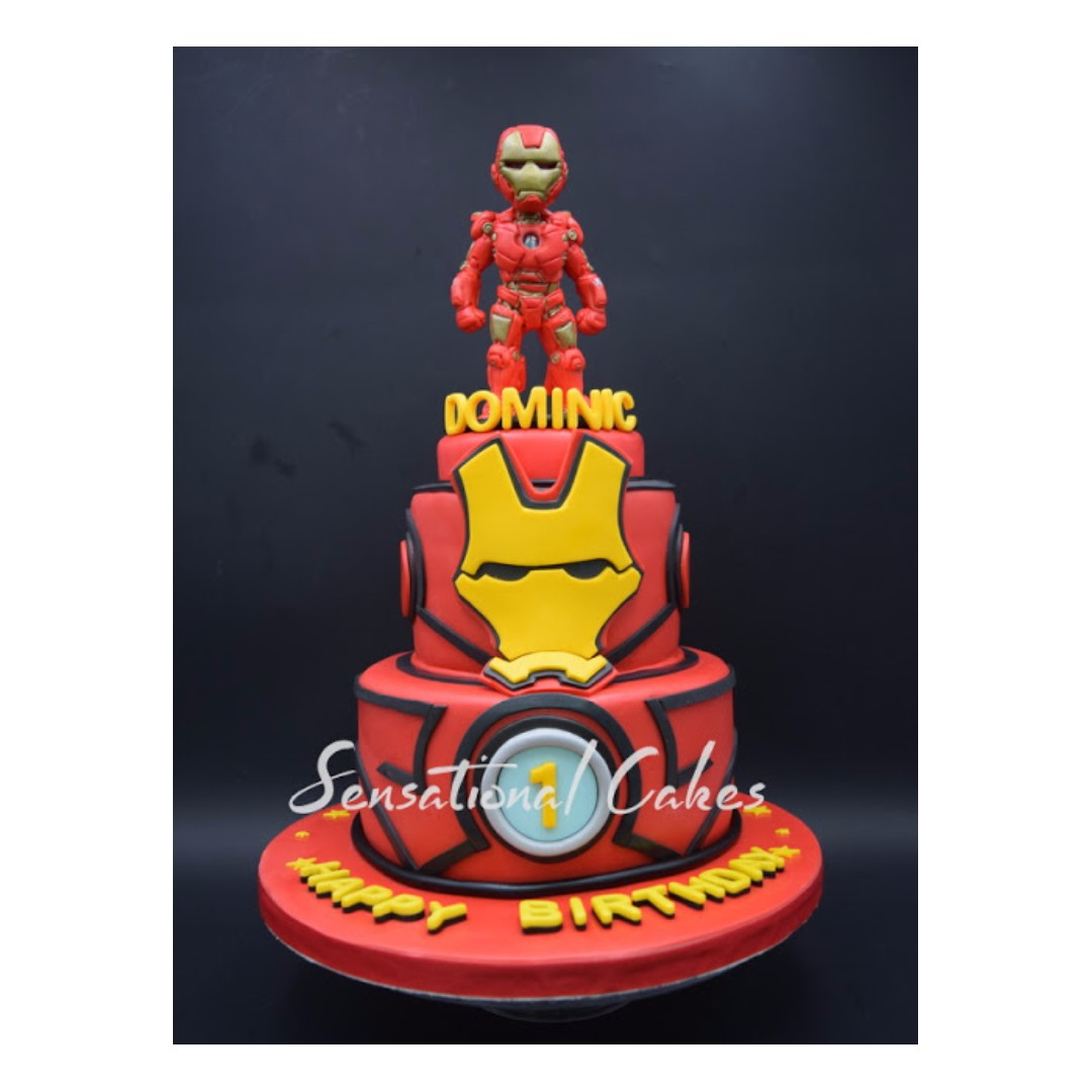 Customized Birthday Singapore Cake 2 Tier Iron Man Avengers 3d Super Heroes Boy Theme