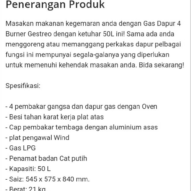 Dapur Gas Gestreo 4 Tungku Dengan Oven Kitchen Liances On