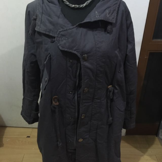 Dark Blue Coat With Removable Hood
