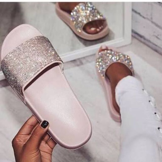 Dimmi London rose gold slides