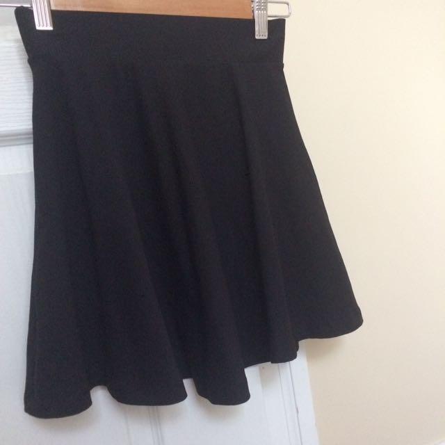 Elastic waist black skirt simple H&M