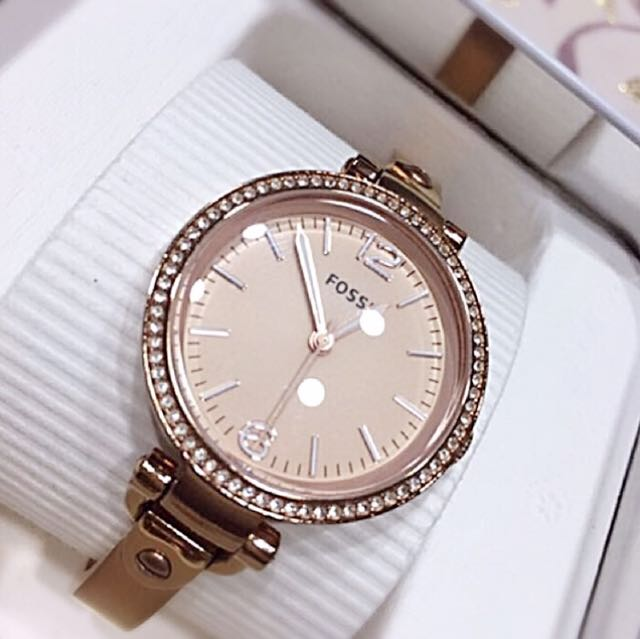 FOSSIL 時尚典雅玫瑰金晶鑽淑女腕錶 (ES3226)