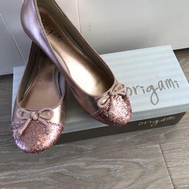Girls Origami Rose Gold Glitter Ballerina Flats