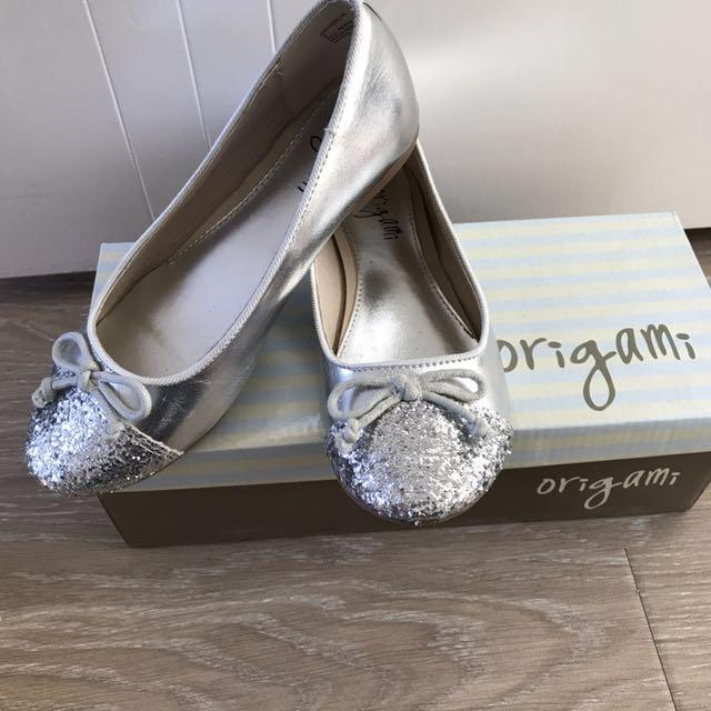 Girls Origami Silver Glitter Ballerina Flats