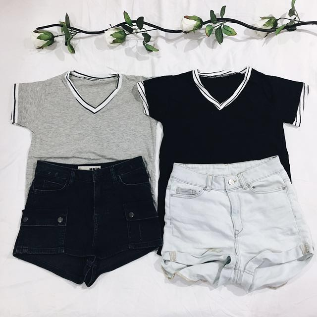 Gray/Black Shirt with Piping Details