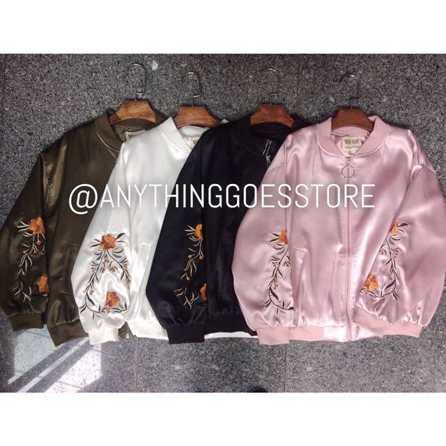 High Quality Embroidered Sleeve Satin Bomber Jacket