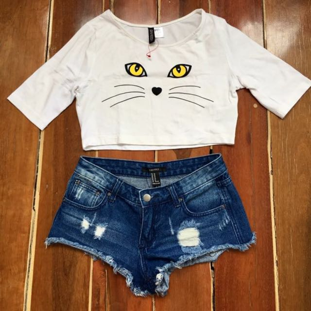H&m Mini Crop And Forever 21 Short