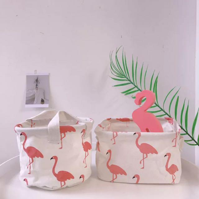 韓國ins少女紅鶴收納籃可折疊桌面化妝品雜物收納框化妝包