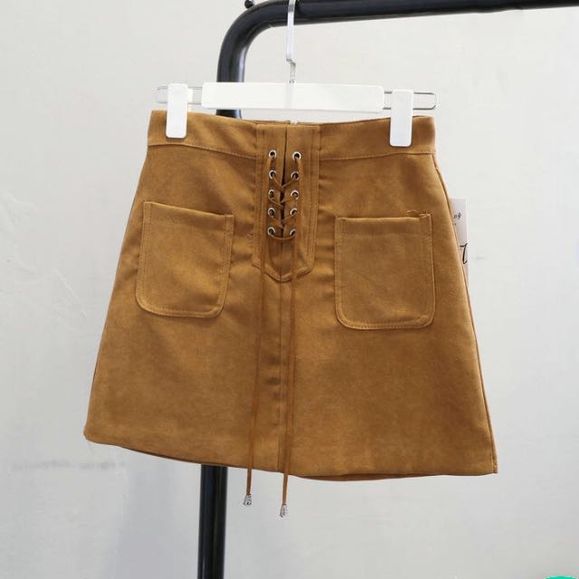 Khaki brown up mini skirt size small (6-8)
