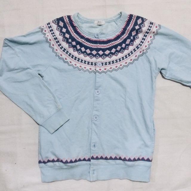Light Blue Aztec Buttondown Pullover