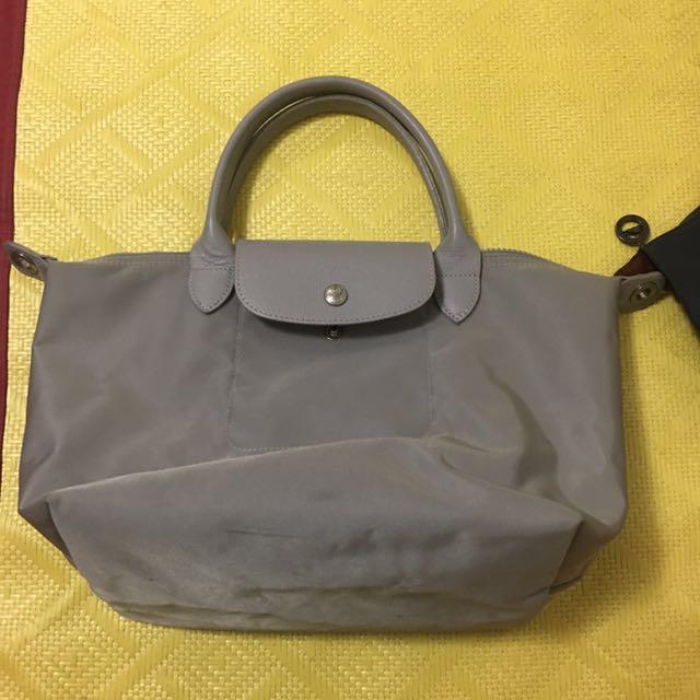 Longchamp短把小包(灰色)硬版