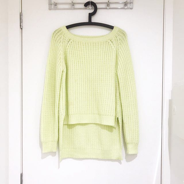 MOSSMAN Lime Green Chunky Knit Jumper