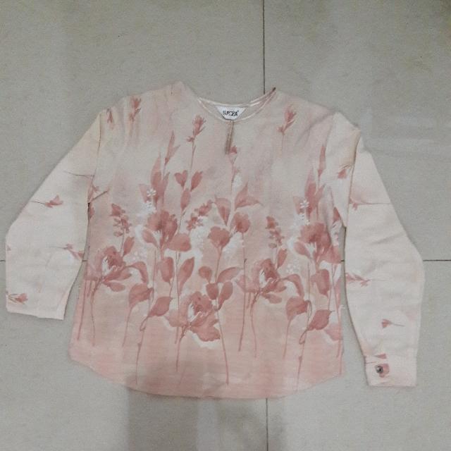 New Blouse Sogo Lengan Panjang Soft Pink All Size HQ