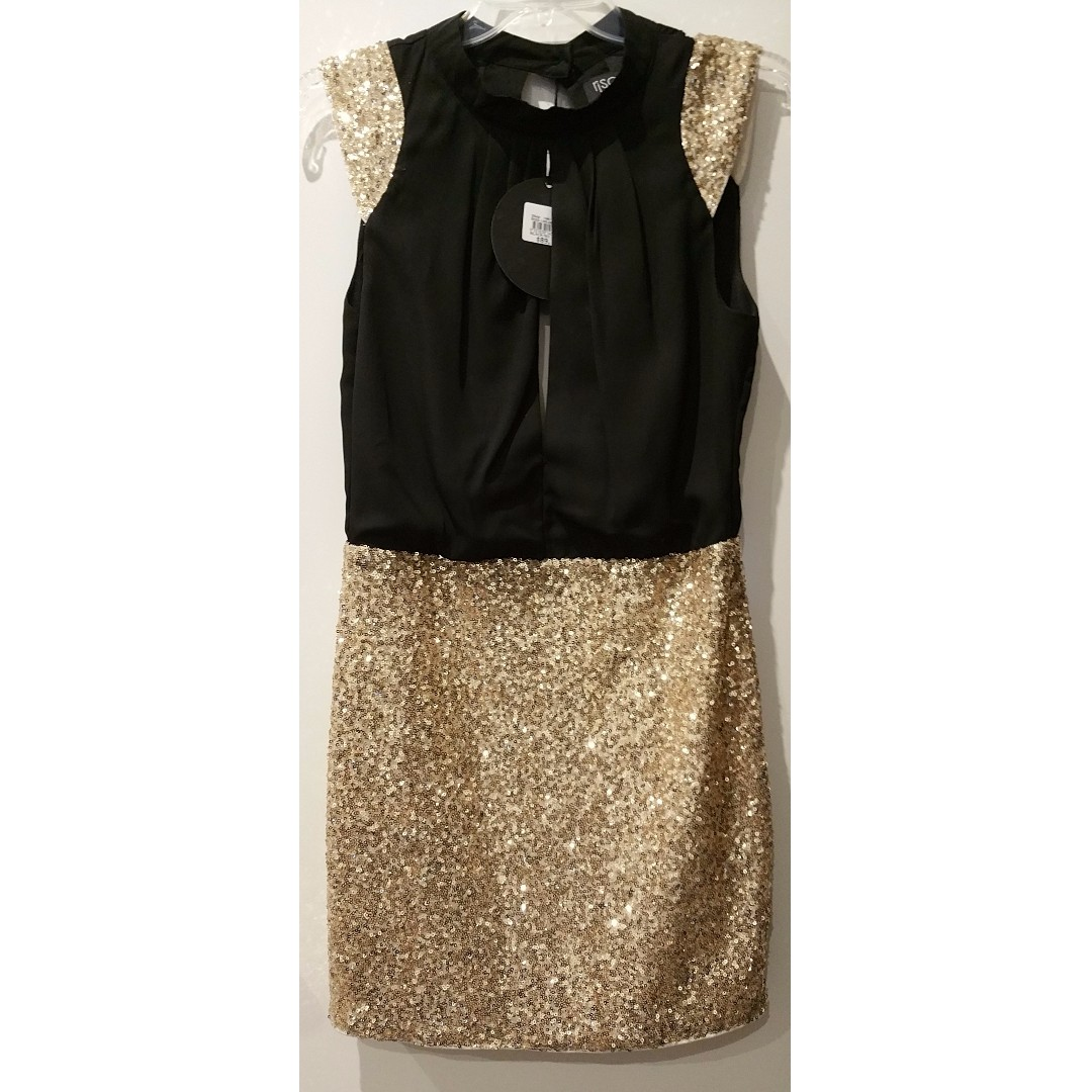 NEW Rise Of Dawn black and gold cap sleeve sexy peephole dress size 10