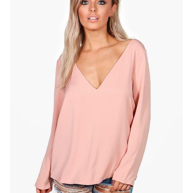 Nude open back blouse