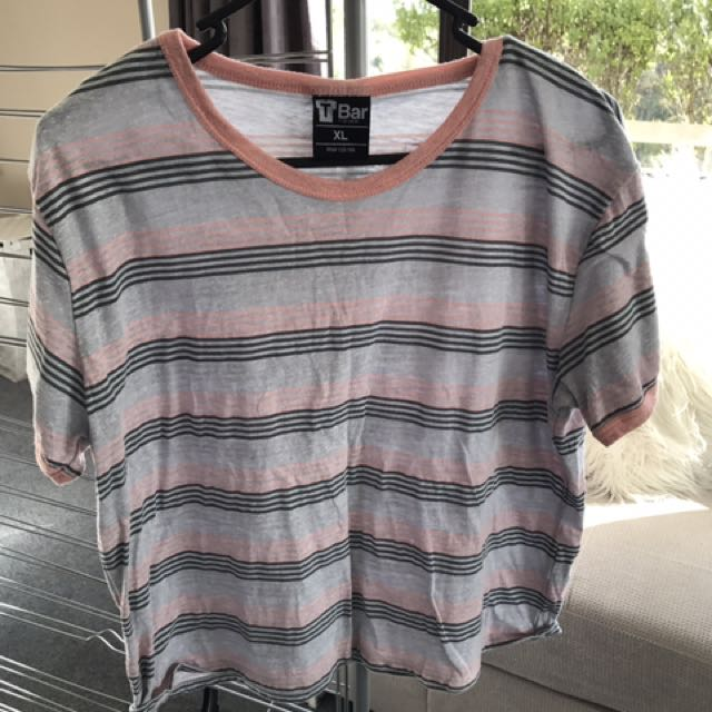 Pink & Grey Striped Crop tee