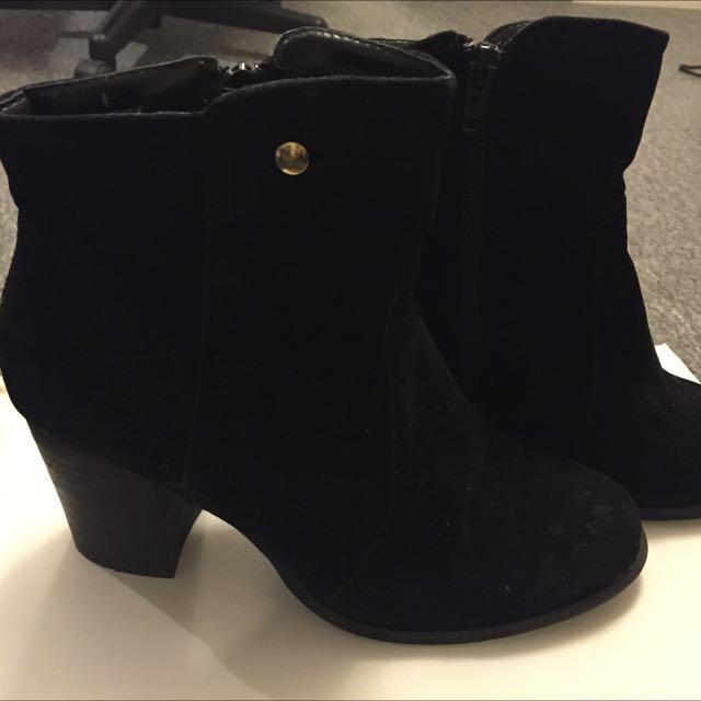 PRICE DROP!! Black Booties with Wedge Heel - $25