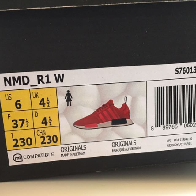 Red NMDs women's size 6 DS