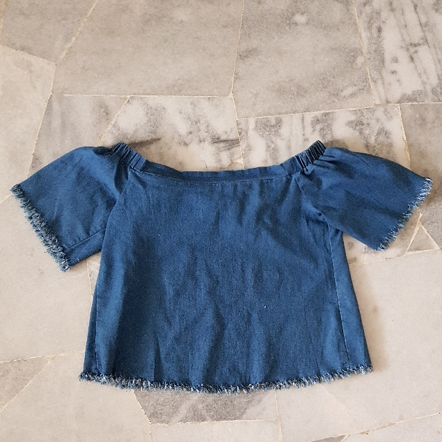 Something Borrowed Denim Off Shoulder Top